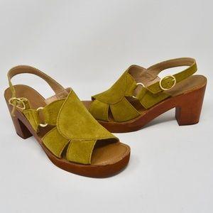 Latigo Iris Peep Toe Suede Slingback Block Heel 8